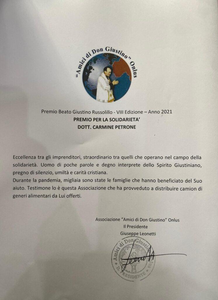 Attestato per Premio Beato Giustino Russolillo - Premio per la solidarietà Carmine Petrone